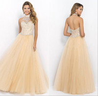 Wholesale High Neck Halter Backless Prom Dresses Floor Length Sparkle Crystal Beading Tulle Skirts Long Prom Gowns Evening Formal Dresses For Girls