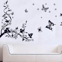 Wholesale 1 Sheet Black Plum Blossom Butterfly Wall Stickers Decal Removable DIY Room Home Decoration