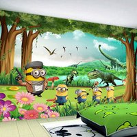 Wholesale Custom photo Silk D wallpaper for walls D Living Kids room hotel toy shop TV background wall covering Minions mural wallpaper