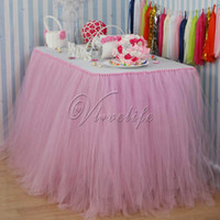 Wholesale 5PCS cm x cm Light Pink Tulle Tutu Table Skirt Tulle Tableware Wedding Birthday Baby Shower Chrismas Party Table Decoration