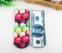 dollar item - 3D Short tube Harajuku style personality cotton socks pattern item S painting dollar fruit