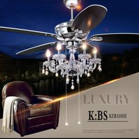 antique ceiling fans with lights - Crystal lamp fan living room ceiling fan light restaurant with European antique retro LED crystal Ceiling Fans