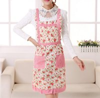 Wholesale floral apron waterproof double layer with front pockets keys cash card holders grids print