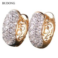 Wholesale BUDONG Fashion Circle Earring for Women K Gold Platinum Plated Hoop Earrings Round Crystal Zirconia Huggie Wedding Earing E133