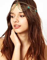 Wholesale Bohemia Draping Turquoise Crown Cuff gold Chains Headband Headwrap Headdress Bridal Hair Jewelry Wedding Tiaras Hair Accessories