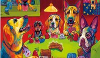 Wholesale dogs playing poker Genuine Handpainted Animal Portrait Art oil Painting On Canvas for home decor Museum Quality