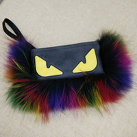 Wholesale Fashion women sheepskin wool fur bags fur and multicolour raccoon fur messenger handbag monster envelope shoulder bag