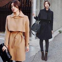 Autumn/Spring belted ruffle trench - 2016 Women Trench Coat Winter Autumn Slim Outerwear Belt Overcoats casaco feminino jacket manteau long femme Korean Wool Coat FS0729