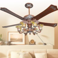 Wholesale 2017 classic ceiling fans lights led quot mm five blades wooden fans remote control indoor ceiling fan for home decoration