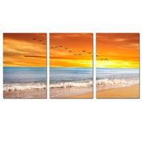 Wholesale Wall Decor Giclee Artwork Sea Beach Paintings for Living Room Dining Room Bathroom Office Canvas Set of