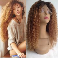 Wholesale 4 Ombre Kinky Curly Wigs Malaysian Human Hair Full Lace Wigs With Middle Part Beauty Long Curly Wigs