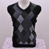 argyle cashmere sweater - goat cashmere men s argyle V neck pullover fashion plaid sweater A A