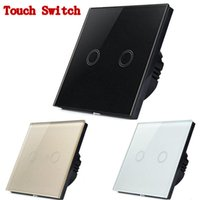 Wholesale 2Gang Way Color Crystal Glass Smart Appliances Wall Switch Touch Switch EU Standard V Touch Screen Wall Light Switch