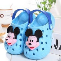 baby mikey - Cartoon EVA Sandals for Kids Boy Girls Summer Sandals Slippers Mikey Minnie Mouse Hole Shoes Anti Slip Beach Shoes for Baby Child