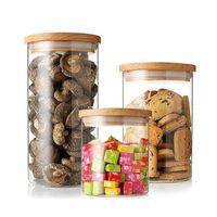 Wholesale Glass herbal tea cHigh borosilicate cork glass storage tank Dried fruit heat resistant glass seal pot ml