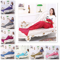 Wholesale Mermaid Tail Blanket Super Soft Hand Crocheted cartoon Sofa Blanket air condition blanket siesta blanket X90cm F749
