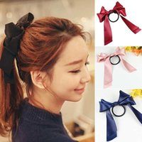Wholesale 9 Colors Fashion Women Mutil color Satin Ribbon Bow Hair Band Rope Scrunchie Ponytail Holder