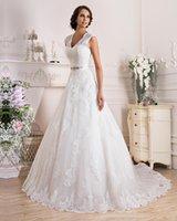 Vente en gros dentelle robe de mariée Nouveau design 2016 mariage élégant dentelle robe blanche en satin tulle à encolure en V dos creux A-Line Wedding Dresses AL01