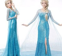 Wholesale Frozen Elsa Adult Dress Fancy Dress Costume Party Blue Snow Queen RHINESTONE