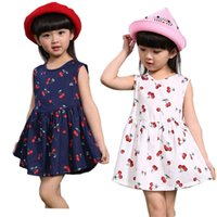Wholesale Baby Girls Dresses Summer Matching Children Dress Plus Size Girls Cherry Print Cotton toddler Family Clothing Vestidos