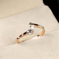 Wholesale Elegant Charming Women Rose Gold Plated Crystal Bridal Engagement Ring Jewelry Adjustable Size