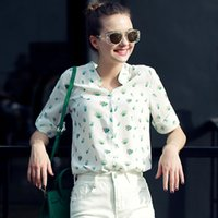 Wholesale New summer women floral printing sexy stand collar three quarter sleeve casual chiffon shirt