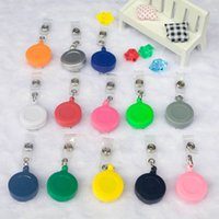 Wholesale DHL FREE ID holder name tag card key Badge Reels Round Solid Translucent Plastic Clip On Retractable Reel Key Clip Holders