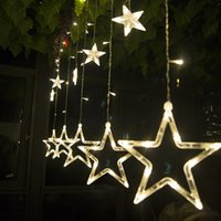Wholesale 220V Curtain Star LED string lights christmas new year decoration christmas led lights christmas party decorations