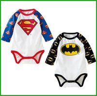 batman costumes cheap - infant toddler baby boy girl rompers outfit costumes superman batman newborn jumpsuits high quality factory cheap price fast