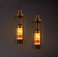 Halogen   LOFT Lighting Fixture Creative Clothes Shop Bar Coffee House Wine Bottle lamp Vintage Style Designer Art Pendant Lamp Free Shipping