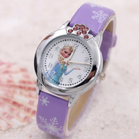 Wholesale Rhinestone Crown Frozen Wristwatches Elsa Anna Children watches Cartoon watches White Snow Pattern Leather Band Quartz Watch Christmas Gift