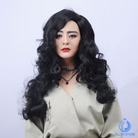 Wholesale New fashion sexy Long Black Curly Wigs Women Cheap African American Fake Hair Full Wavy Hair Wigs