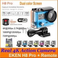 Wholesale Original EKEN H8 Pro Dual Screen K fps Action Camera P fps P fps Remote Control Waterproof Super Slow Motion Sports DV DHL