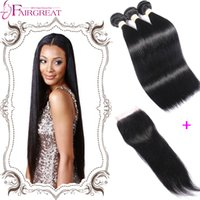 Wholesale Straight Brazilian Virginn Hair Weaves With Closure Straight Virginn Hair Bundles With Closure A Brazilian Human Hair With Closure