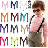 Wholesale New Children Kids Boy Girls Clip on Y Back Elastic Suspenders Adjustable Braces Christmas gift full color F650