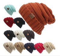 Wholesale 2017 Fashion Colors Knitted CC Women Beanie Girls Autumn Casual Cap Women s Warm Winter Hats Unisex Men Casual Hat