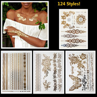 belly band design - 8pcs gold silver metallic tattoos necklace bracelet flash jewelry tattoos Sparkle shine temporary tattoos chic chains cuff bands designs