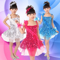 Wholesale child costume girls sequins paillette modern dance infant clothes stage dance performance wear with flower Condole belt JQ