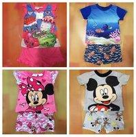 beach pajamas - Finding Dory Nemo Kids Summer Short Sets Fruits Shop Family Micky Minnie Boys Girls Cartoon Outfits Summer Pajamas Suits Beach Casual Cloth