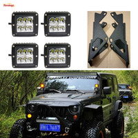 Wholesale A Pillar Dual Layers Brackets W Cree LED Tuning Light one Wire Harness For Jeep JK