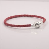 Charm Bracelets Asian & East Indian Unisex christmas gift 35-65cm Red 100% 925 sterling silver clip clasp charms bracelets genuine leather bracelet fit for pandora charms jewelry
