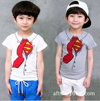 Wholesale 5pcs Summer children s clothing boys Superman fake two Piece boys casual cotton short sleeved T shirt