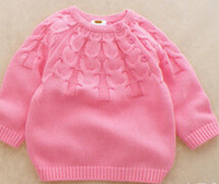 Wholesale baby girl dobby pink color pullover sweater toddler girl casual cotton jumper sweater and Retail