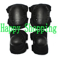 airsoft gear set - Airsoft Tactical Adjustable Knee and Elbow Protective Pads Set Protector Gear Sports Hunting Shooting Pads Black