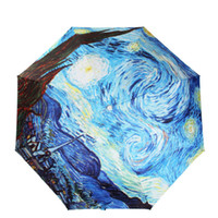 artistic umbrella - Womens Van Gogh Masterpiece Oil Painting Folding Parasol Sun Protection Anti UV Artistic Rain Umbrella Compact for Easy Carrying Bag Tote