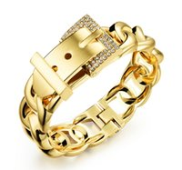 Wholesale 18K Gold Plated setting drill The belt buckle wide bracelets silver gold Two color optional