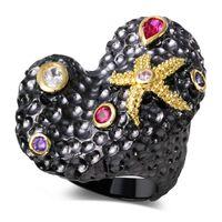 amethyst ring gold vintage - DC1989 New Women VIntage Fashion Irregular Shape Rings Amethyst Siam Clear Cubic Zircon Bezel Setting K Gold Black Plated