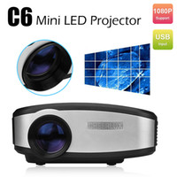 Wholesale New C6 Mini Portable LED Pico Pocket Projector Lumens HDMI USB VGA AV TV LCD Proyector P For Home Theater Video Cinema Games Beamer