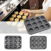 aluminum cupcake pans - Round shape Aluminum Muffin Cupcake Mould Case Bakeware Pan Tray Mould Maker Mold Tray Baking Cup Liner Baking Molds