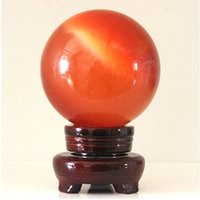 bamboo sphere - AAA Blue Crystal cat s eye Sphere Ball mm stand